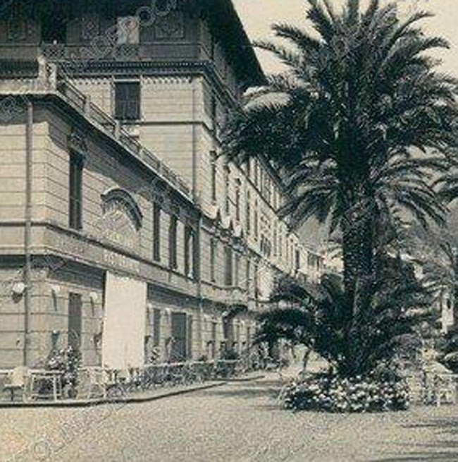 Historical photo of the facade of the Grand Hotel Arenzano