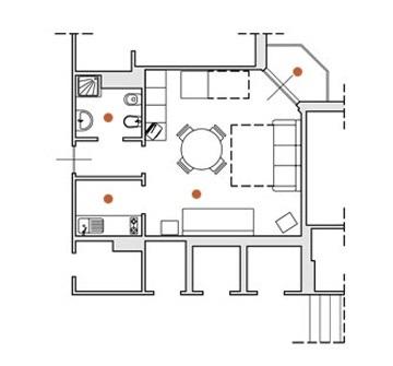 Monolocale con balcone per soggiorno in residence con piscina